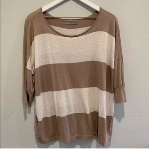 Nordstrom Rubbish Brown & White Striped Sweater